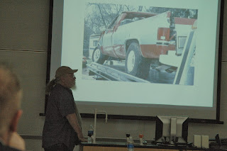 Retired Officer Mike Winborn reconstructs accident scenes for the Society of Forensic Science.