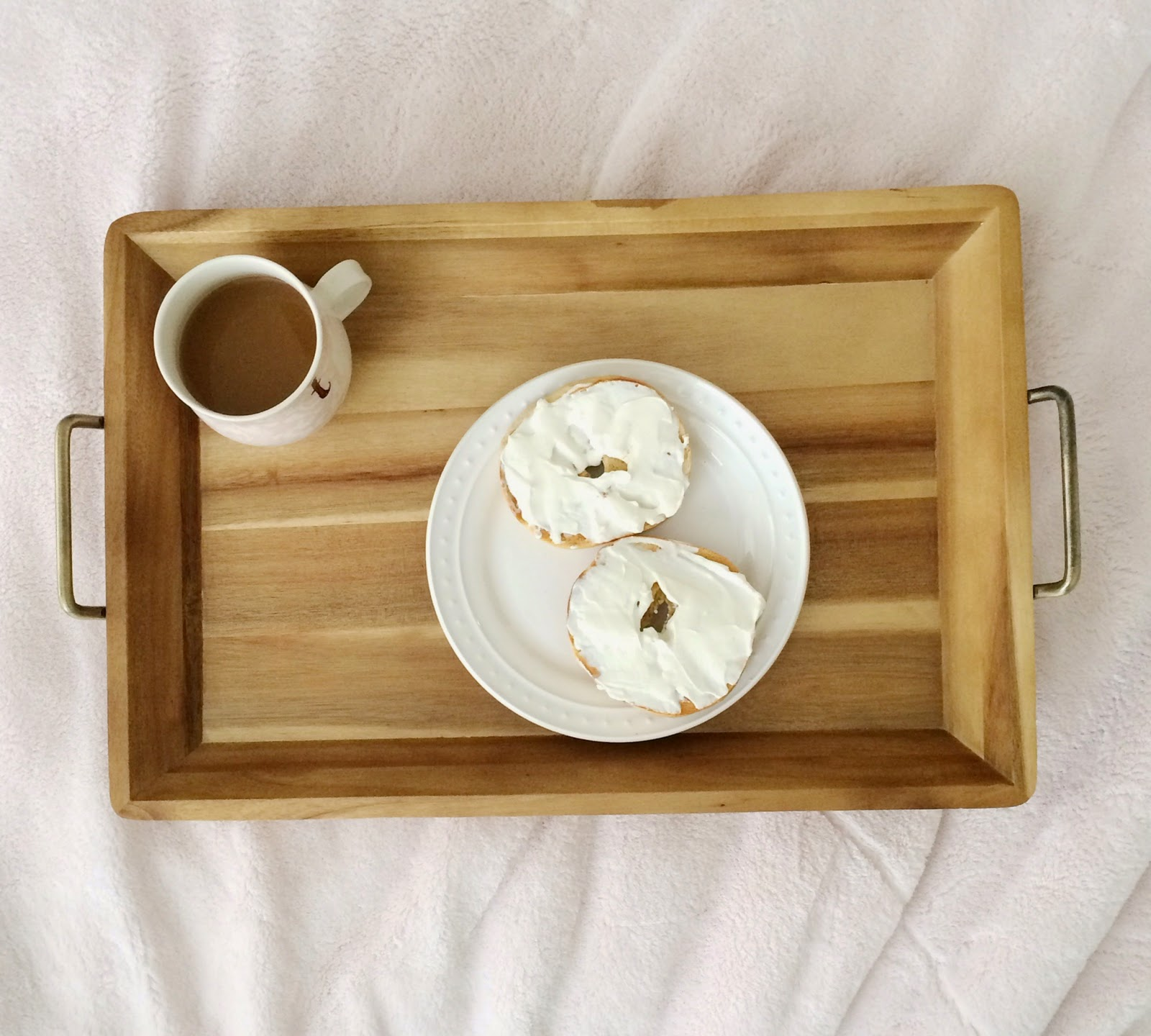 breakfast in bed, tray, coffee, bagel