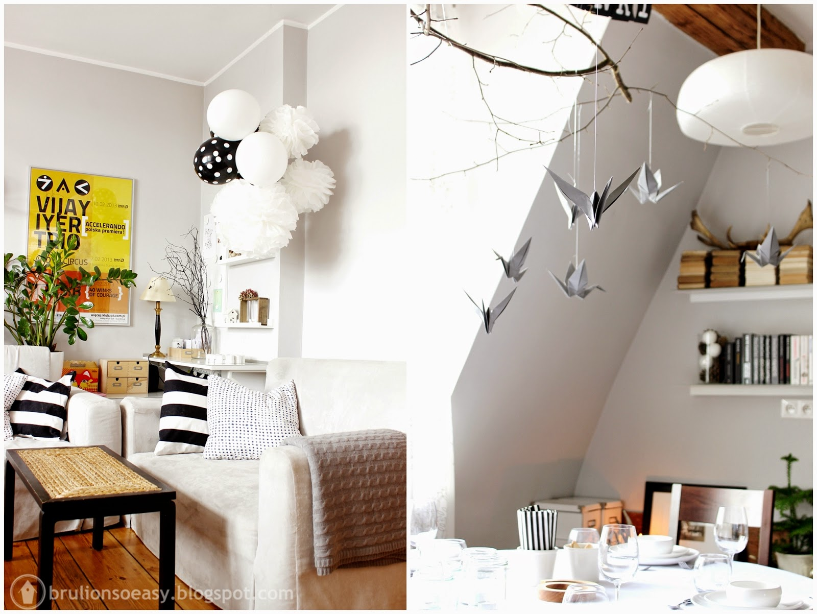 black&white 1th birthday party decoration