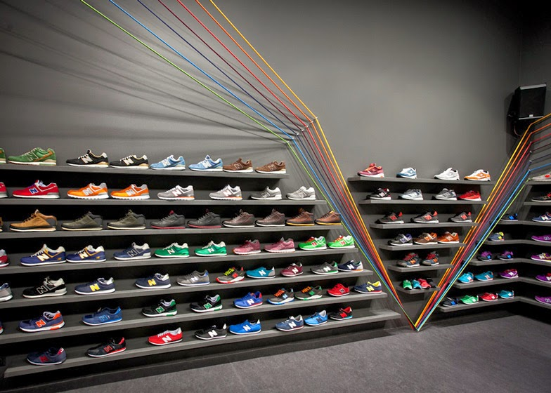 This One Has A Rainbow Of Coloured Cords That Streak Across This Trainer  Shop In Poznań, Poland, And The Interior Was Designed By Designers  Mode:lina ...