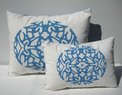 Blue monogram pillow