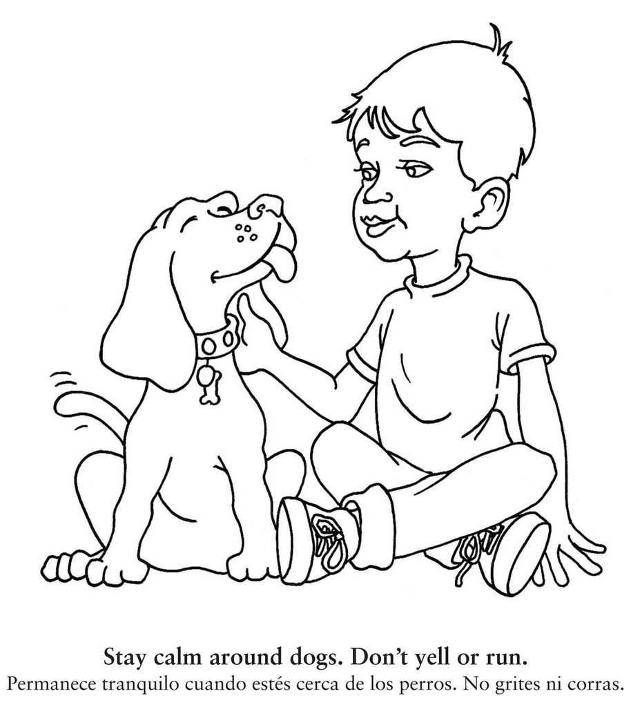 Printable Kids And Dogs Coloring Sheet Education