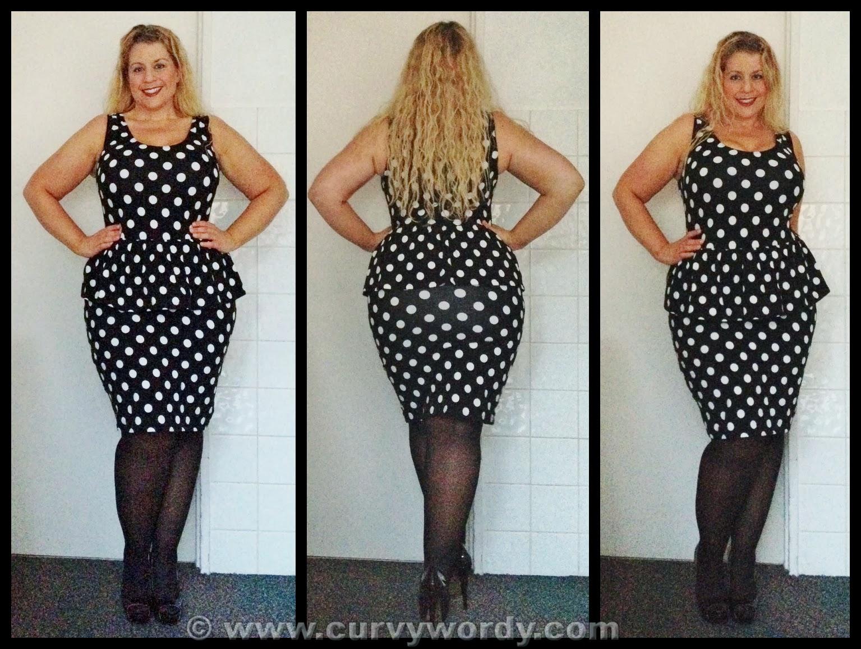 Peplum dress with black stockings