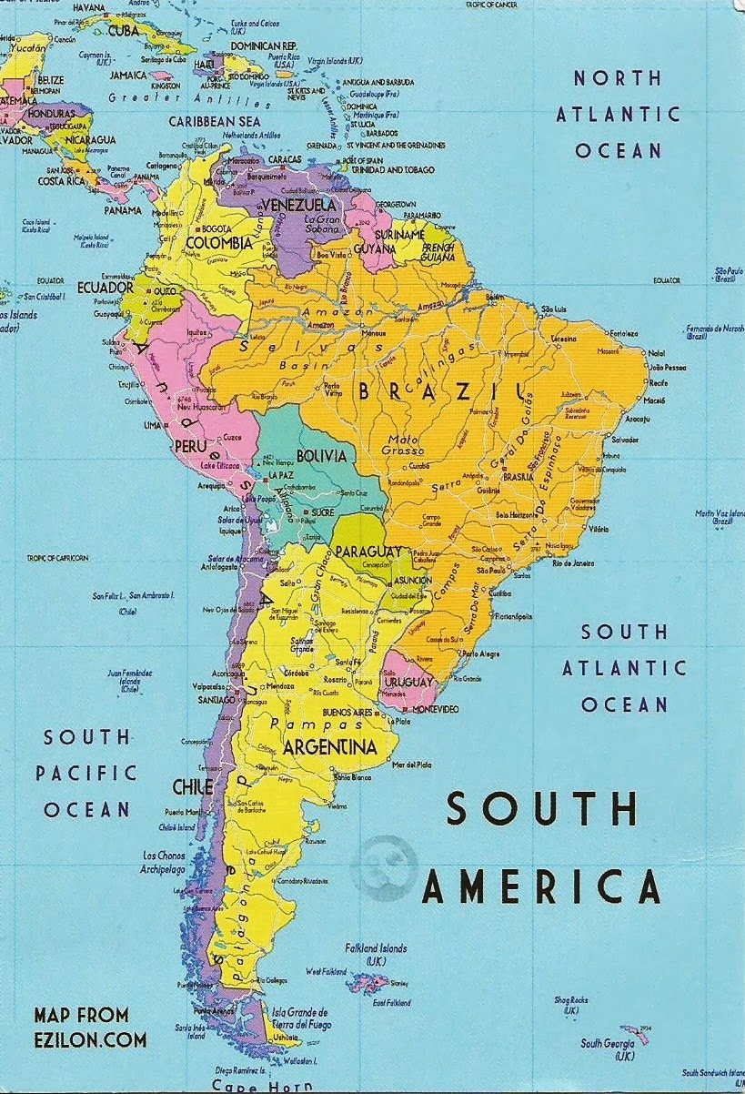 Postcards on My Wall: South America Map (Guyana)