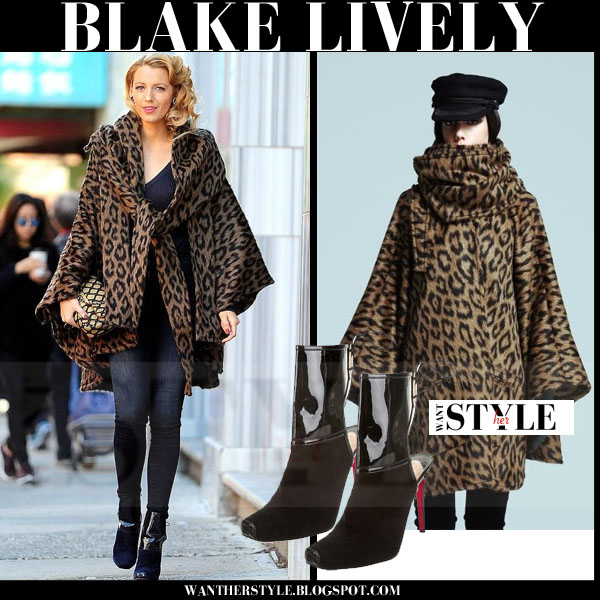 Blake Lively in leopard print alpaca cape, skinny jeans and ankle boots christian louboutin what she wore woody allen movie set 2015