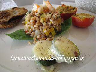 insalata di farro,gamberi e verdure saltate