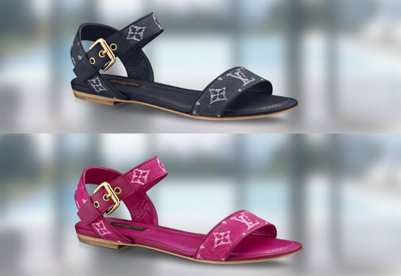 8add086019c ... LV gold cubes. The Formentera Flat sandal as with all other shoes in  the new collection is available in Pink and Navy Blue