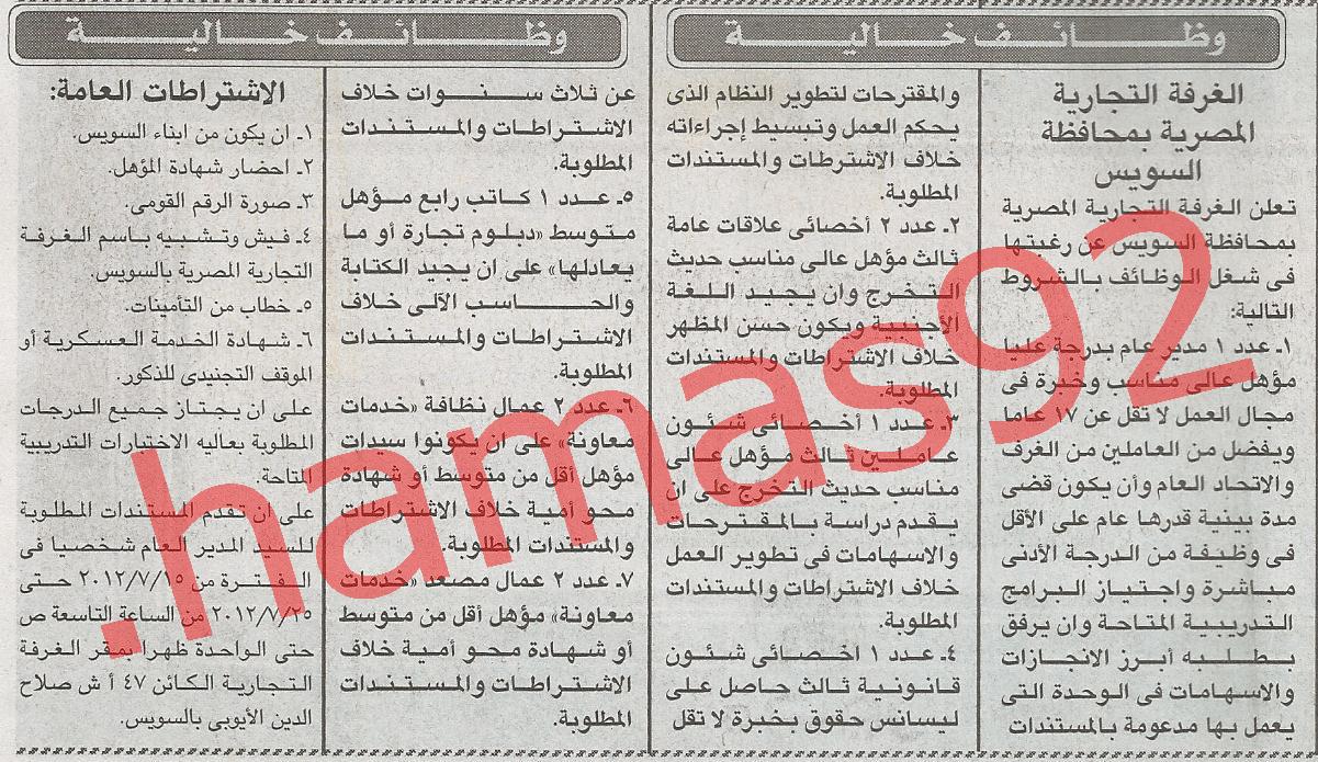 مطلوب اخصائى شئون قانونيه للعمل بالغرفه التجاريه المصريه %D8%A7%D9%84%D8%A7%D8%AE%D8%A8%D8%A7%D8%B1+2