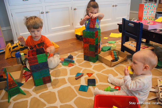 building with magna tiles