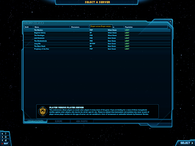 SWTOR - Server Selection