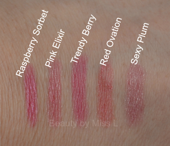 Raspberry Sorbet, Pink Elixir, Trendy Berry, Red Ovation,  Sexy Plum