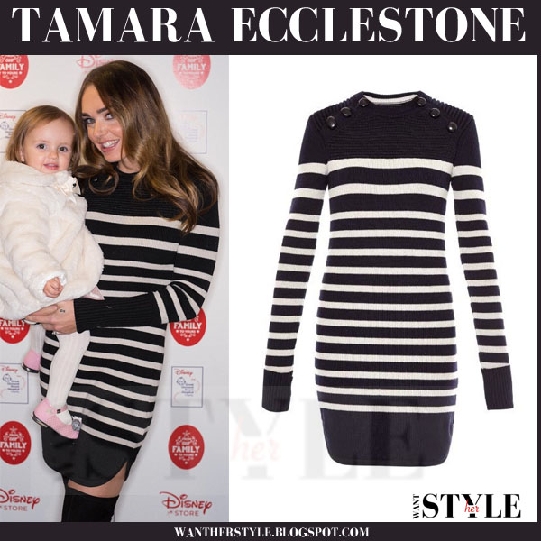 Tamara Ecclestone in black striped mini sweater dress isabel marant hazea what she wore