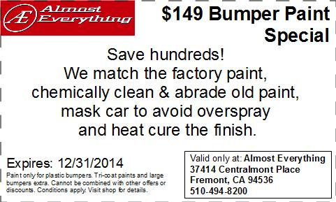 Discount Coupon $149 Bumper Paint Sale December 2014
