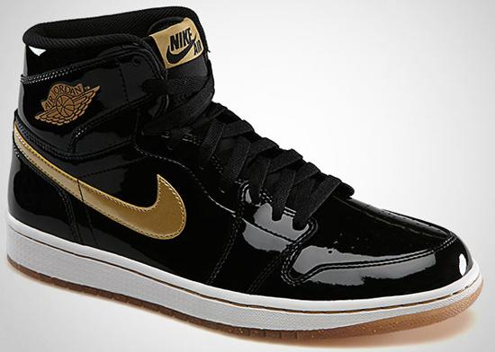 2003 air jordan 1 retro patent black\/gold wedding