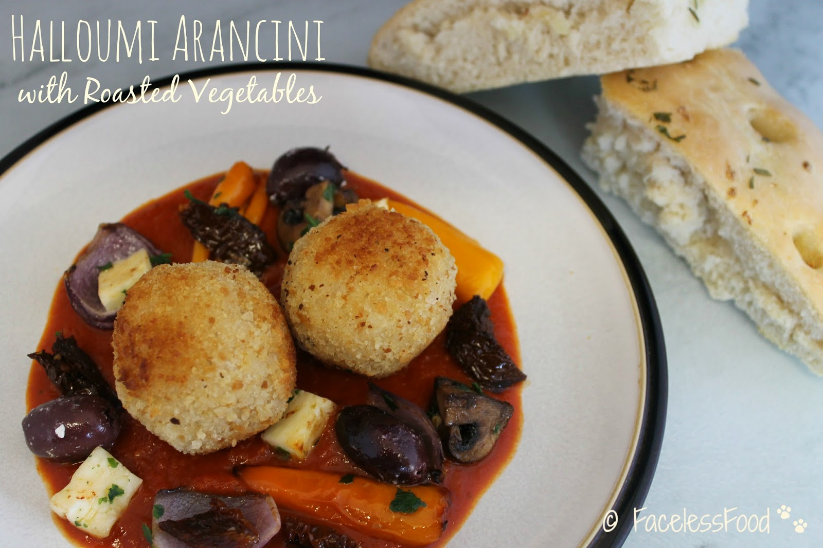 Halloumi Arancini with Roasted Vegetables