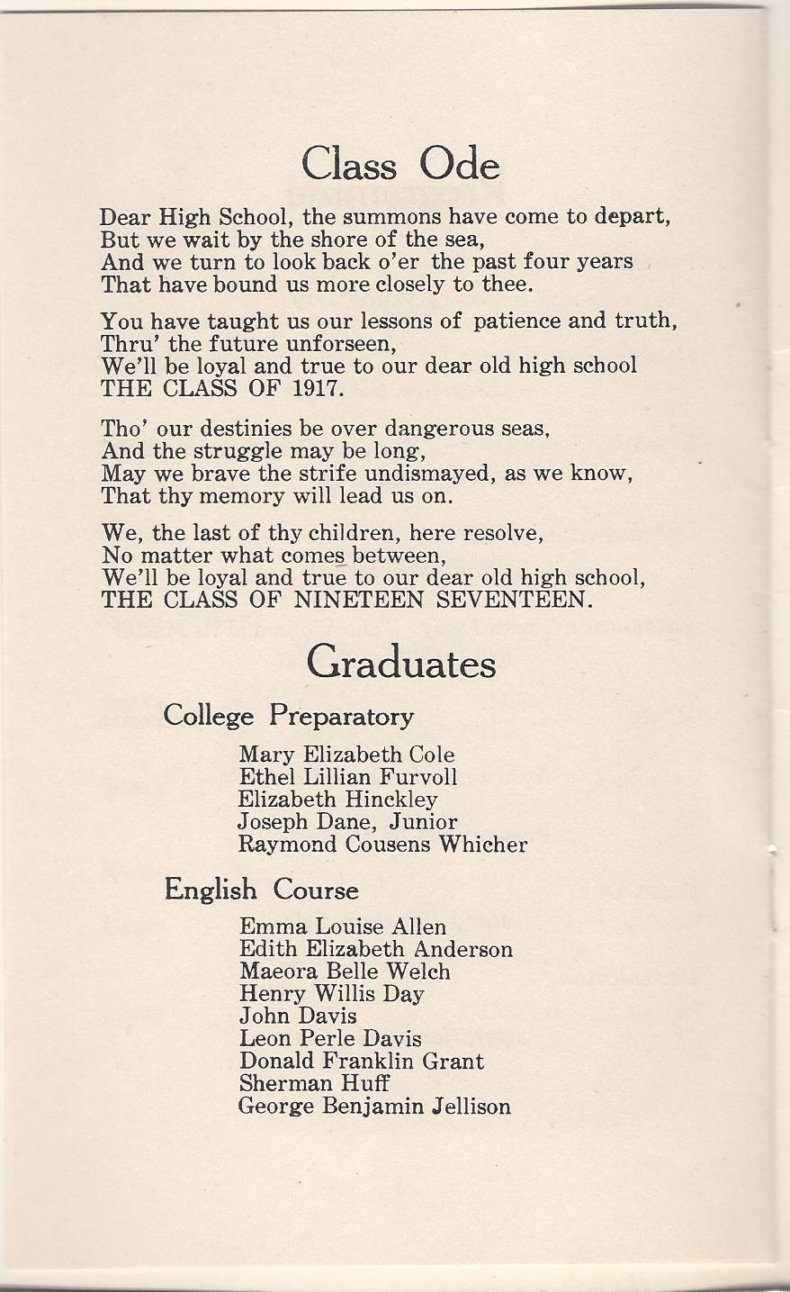 heirlooms reunited graduation program of kennebunk high 1917 graduation program of kennebunk high school at kennebunk maine