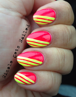 Neon Pink with Neon Yellow Stripes Nails