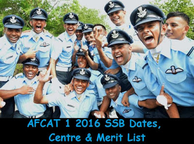 AFCAT 1 2016 SSB Dates, Centre & Merit List