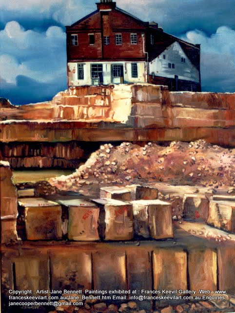 "oil painting of Jacksons Landing, Pyrmont ""Pyrmont - McCaffery's Hill -Demolition of CSR Distillery "" 2000 oil on canvas 61 x 46 cm by Jane Bennett, Artist"