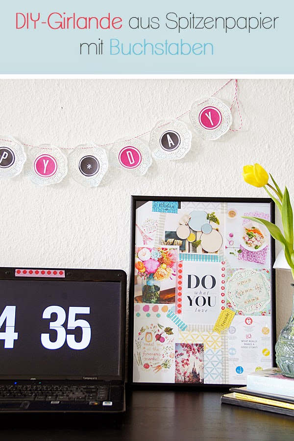 Girlande mit Buchstaben selber machen, Moodboard, Farben
