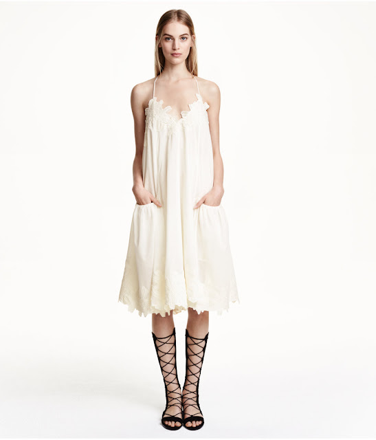 hm cream strap dress, cream strap dress with pockets,