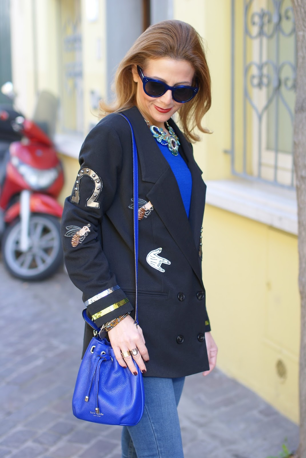 Vogos appliqued blazer with lucky charms and Hype Glass on Fashion and Cookies fashion blog, fashion blogger style