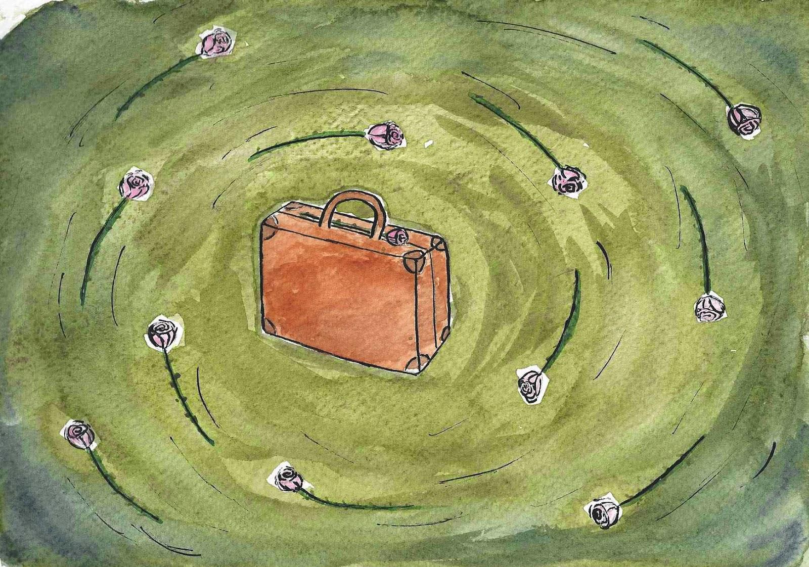 des roses et des valises dans un tourbillon prêt pour le voyage