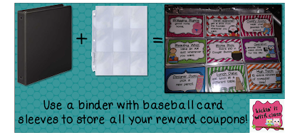 picture of reward coupons, baseball card sleeves, kickin' it with class