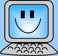 computer with smiley face