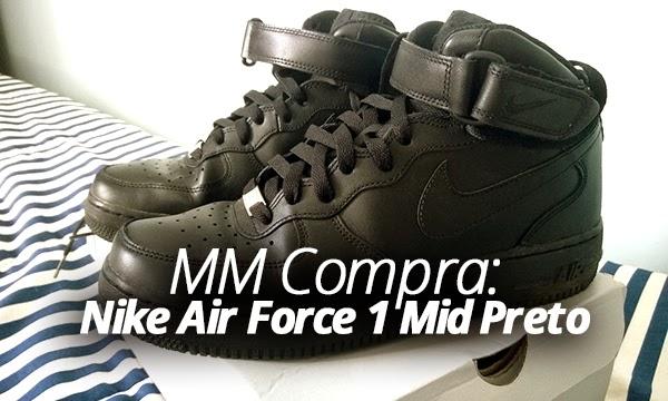 nike air force 1 cano alto preto