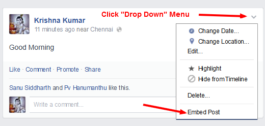 Facebook Embed a Post - Step-2