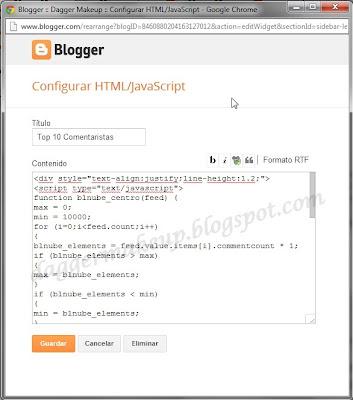 Gadget de comentaristas para Blogger