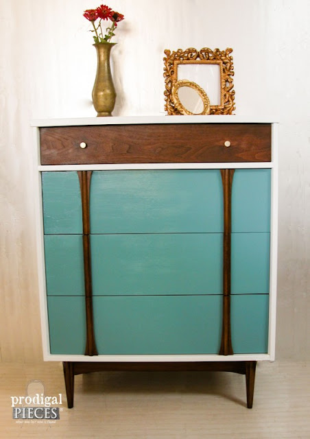 refinished mid century dresser, painted mid century dresser, diy, how to paint mid century furniture