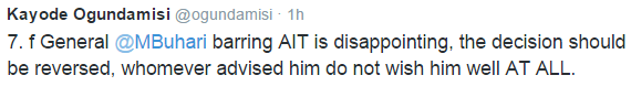A Strong Buhari Supporter Against The Barring Of AIT