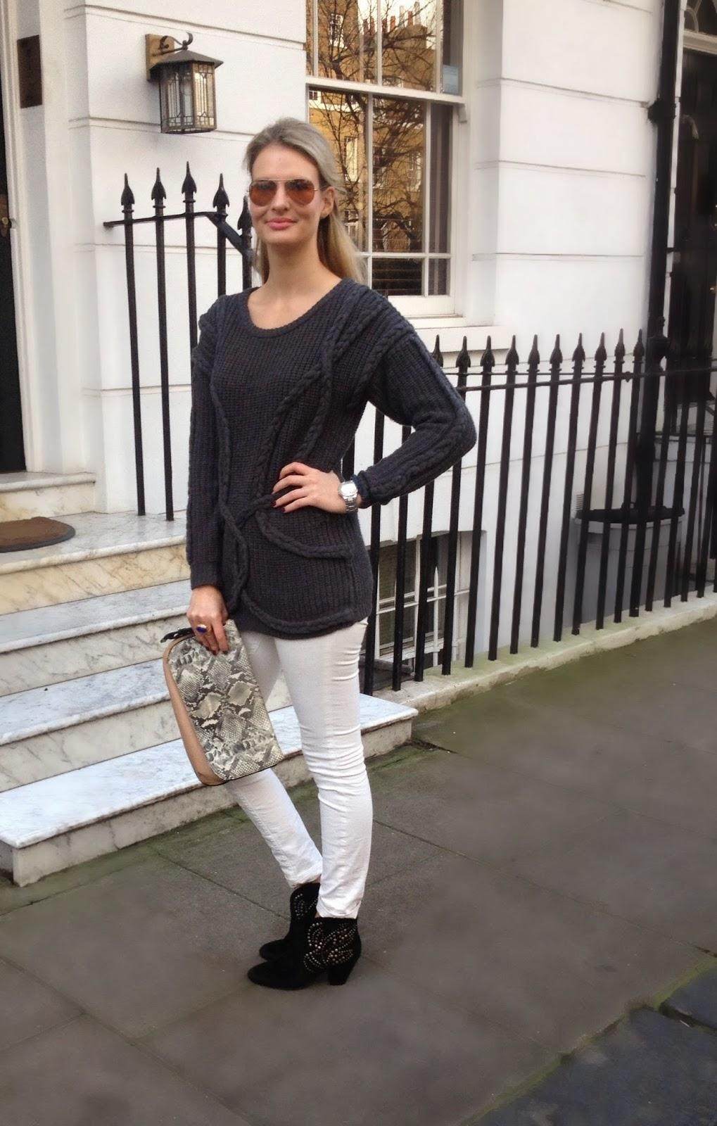 knitted jumper, platted jumper, primark, primark jumper, ash, ash footwear, ash boots, sneak print, sneak print clutch, clutch, j brand, j brand jeans, chrissabella blog