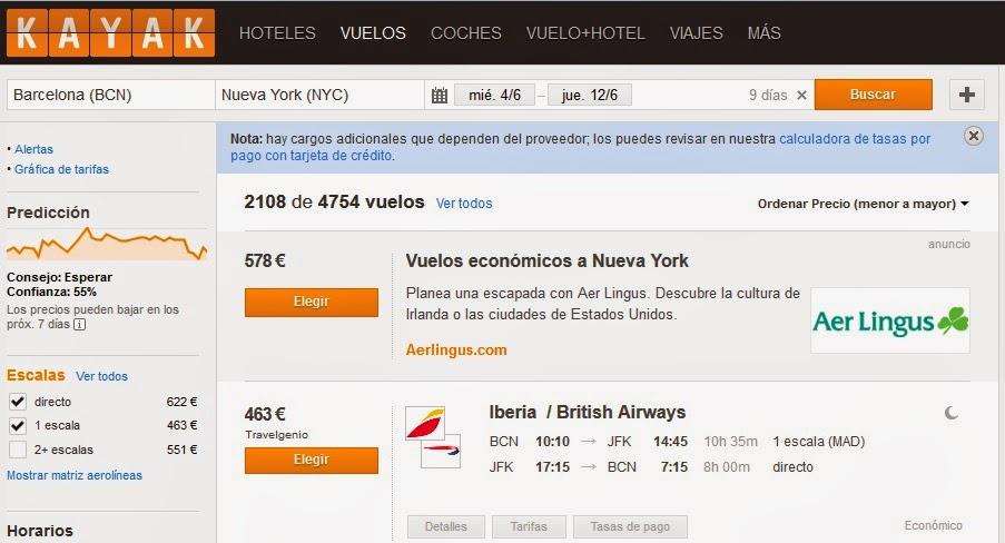 Vuelo directo Barcelona Nueva York