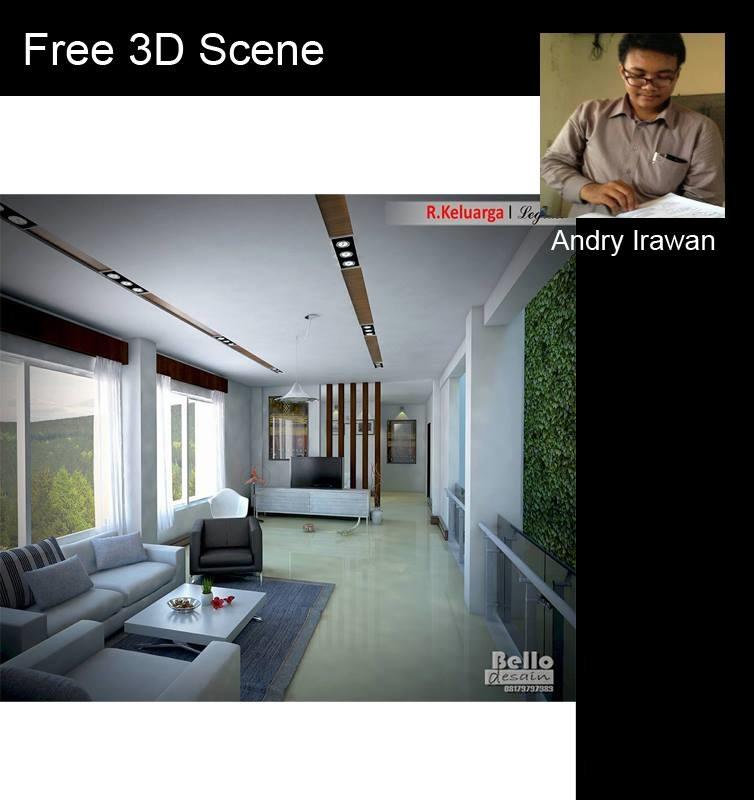 Free sketchup 3d model modern living room 03 for Sketchup room layout
