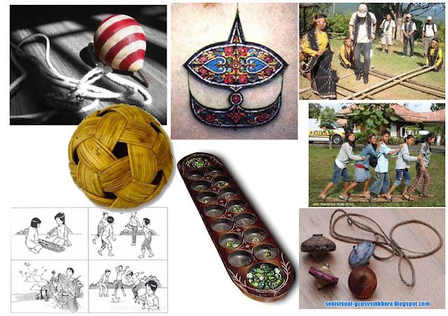 Koleksi gambar pelbagai alatan permainan tradisional sebagai sumber