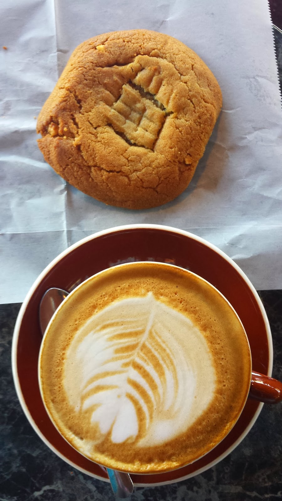 peanut butter cookie and cap from Caffe Trieste, Berkeley