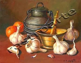 Bodegón de ajos y naranjas, con un almirez de latón y pote metalico