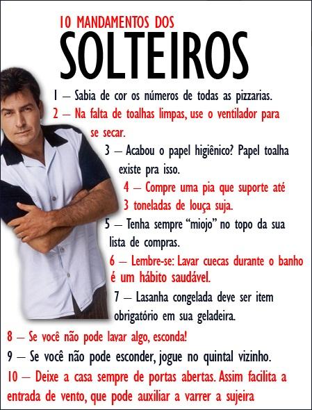 SOLTEIROS,MANDAMENTOS,HOMEM