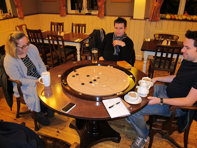 Crokinole - Katie, Ben and Andy try out this new game at the Blue Anchor