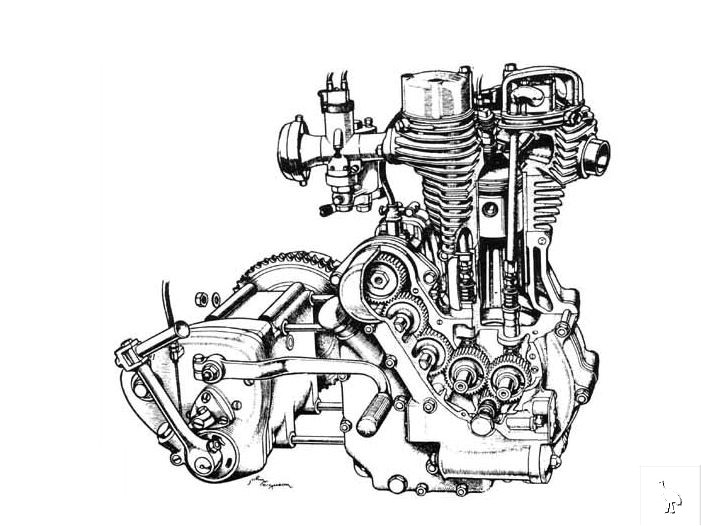 royal enfield bullet engine-cutaway