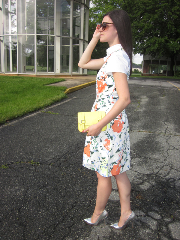 floral dress, Gap, white shirt, neon clutch
