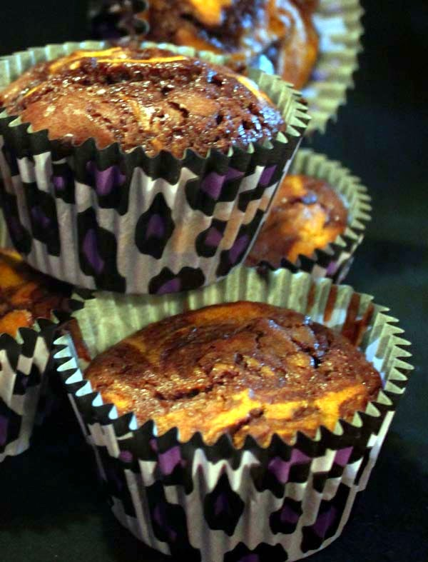 Easy Marble Pumpkin Brownie Cupcake Recipe