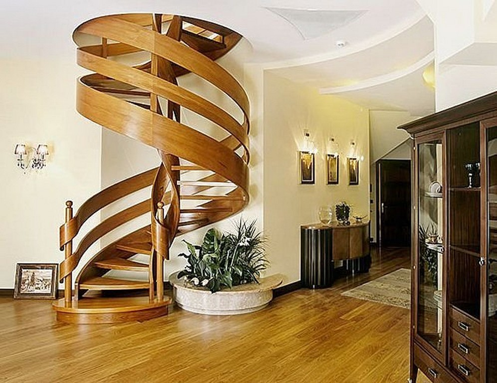 Wood Spiral Stairs Design