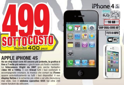 Offerta promozionale per smartphone Apple in sottocosto da Comet
