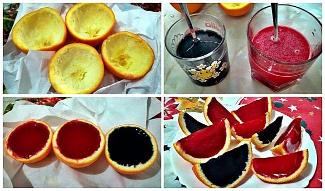Preparación de los gajos de colores de gelatina de naranja