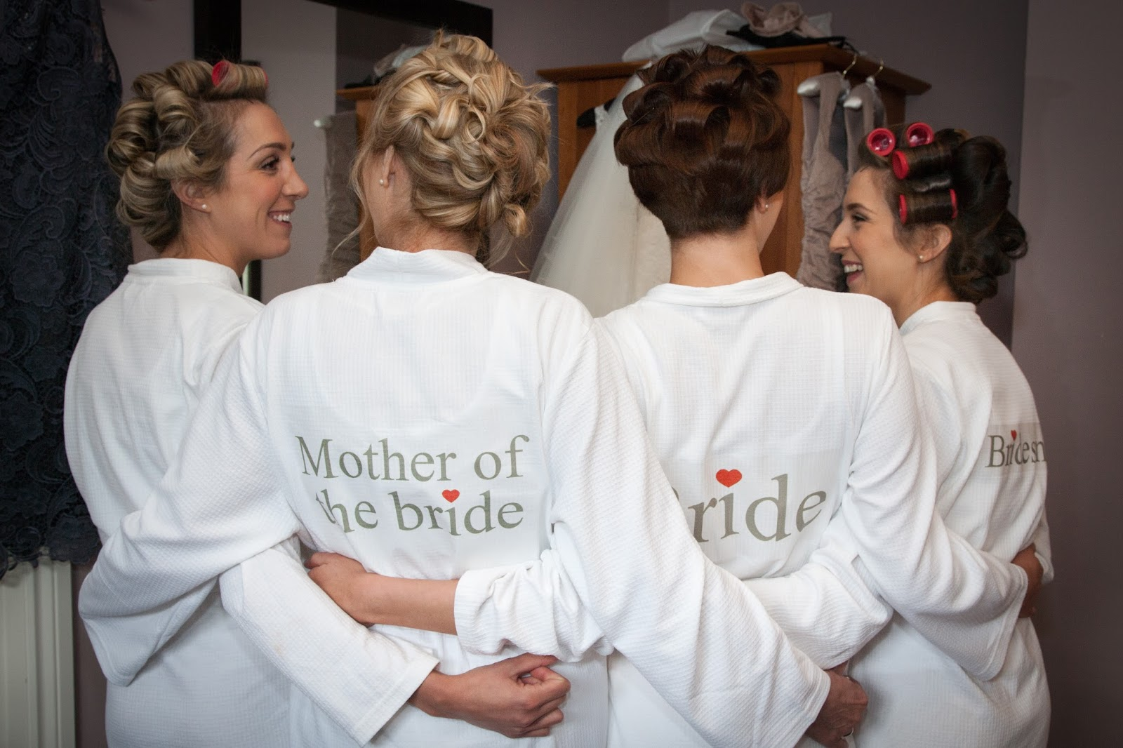 Morning preparations, wedding, bridesmaids, matching dressing gowns, personalised gowns