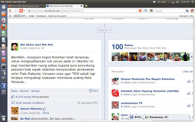 Pengumuman cuti 20 Oktober dalam Facebook Menteri Besar Kelantan